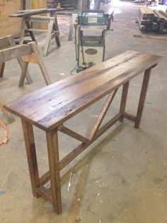 Reclaimed oak entrance table.