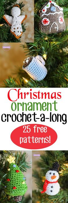 25 Days of Christmas Traditions Ornament CAL 25 FREE Crochet Patterns from Sewrella - Crafting Intensity Christmas Crochet Patterns, Crochet Christmas Ornaments, Holiday Crochet, Christmas Knitting, Crochet Gifts, Free Crochet, Christmas Crafts, Christmas Items, Crochet Hooks