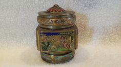 "Antique Chinese Bronze Cloisonne Tobacco Opium Jar, Handmade Late Qing Dynasty / Early Republic of China, 4 Sided, 3 1/2"" H"