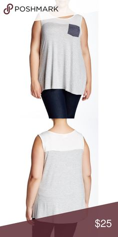 [H.I.P.] •Stripe Pocket Tank• - Scoop neck - Sleeveless - Contrast perforated chest patch pocket - Stripe print - Banded trim - Made in USA Fiber Content Self: 95% rayon, 5% spandex Contrast: 90% polyester, 10% spandex Care Machine wash Fit: this style fits true to size. NWT - never worn. H.I.P. Tops Tank Tops
