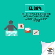 """#Piso9Digital #sabíasque """"El 88% de los consumidores buscan información en sitios web antes de realizar una compra""""."""