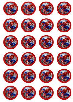 "24 EDIBLE 1.5"" RICE PAPER CUPCAKE CAKE TOPPERS SPIDERMAN PRECUT"