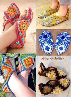 Stylish Easy Crochet: Crochet Slippers Pattern - Using Crochet Granny Squares: