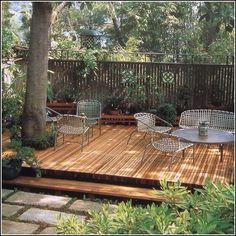 Backyard Deck Around Trees Ideas For 2019 Deck Around Trees, Tree Deck, Patio Trees, Deck Patio, Outdoor Decking, Low Deck, Landscaping Around Trees, Tree Tree, Backyard Patio Designs