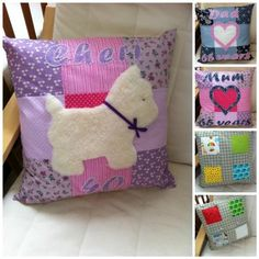 Patchwork cushion covers - The Supermums Craft Fair Patchwork Cushion, Scottie, Soft Furnishings, Cushion Covers, Craft Fairs, Sewing Crafts, Applique, Projects To Try, Sweet Home