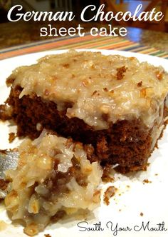Easy German Chocolate sheet cake with homemade caramel, pecan and coconut icing.