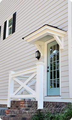 Project Curb Appeal: Portico for back door to match front facade Porch Roof, Side Porch, Side Door, Front Porches, Porch Overhang, Porch Stairs, Front Porch Without Roof, Porch Awning, Front Door Awning