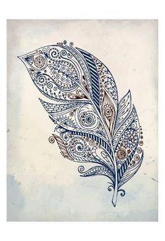 Art Print: Feather Henna 1 by Kimberly Allen : Henna Feather, Feather Art, Mandala Tattoo Shoulder, Shoulder Tattoo, Henna Tattoo Designs, Tattoo Ideas, Murals Street Art, Gorgeous Tattoos, Doodle Designs