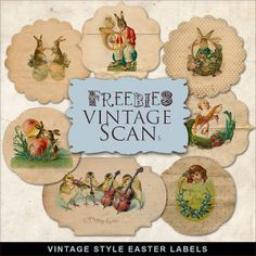 Far Far Hill - Free database of digital illustrations and papers: Freebies Kit of Easter Labels