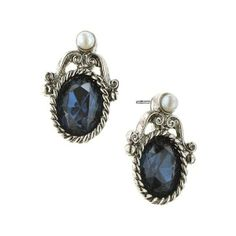 1928 JEWELRY Bellissimo Silver Antiqued Blue Crystal Stud Earrings (16 AUD) found on Polyvore