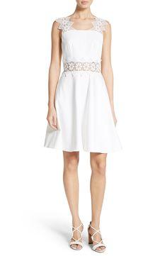 New Ted Baker London Monaa Lace Trim A-Line Dress, Black fashion dress online. [$335]>>newtstyle Shop fashion 2017 <<