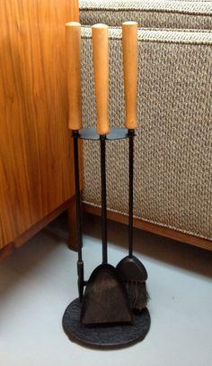 Vintage Mid Century Iron Fireplace Tool Set