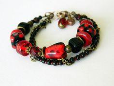 Carmen Red Black Bohemian Lampwork bracelet by MarianneMerceria