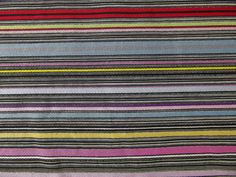 1940s Vibrant Multicolor Horizontal Striped Cotton Fabric