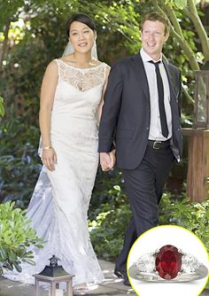 Facebook creator, Mark Zuckerberg recently tied the knot to Priscilla Chan, his girlfriend of 9 years. While you would expect the bride of a billionaire to show off a blinding, big diamond, the new Mrs. Zuckerberg is sporting a modest ruby ring! Do you think she deserved something bigger?