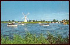 (19795) Vintage 1960s PC. River Thurne & Thurne Mill, Norfolk Broads. Boats | eBay