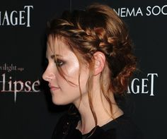 Kristen Stewart wearing a plaited hairstyle at The Twilight premiere in Madrid
