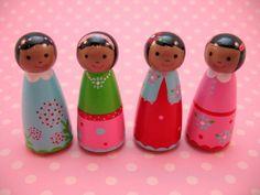 Posy Girl Handpainted Wooden Doll Playset. $32.00, via Etsy.