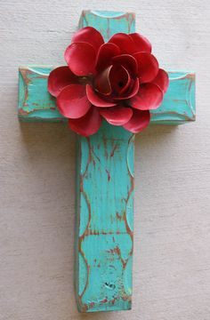 Rustic turquoise cross, red rose, Mexican inspired.