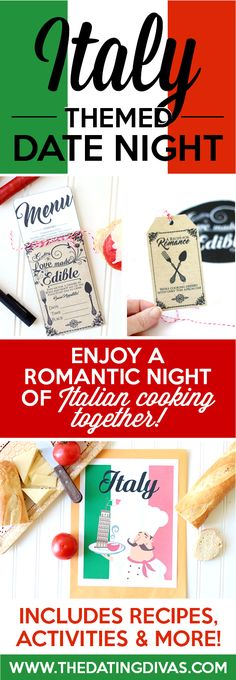Fun printables for an Italian Date Night including invitation, recipe cards, activities, and MORE. They have lots of countries to choose from too so you can do one country each month and travel the world throughout the year. SUCH a fun idea!! From www.TheDatingDivas.com