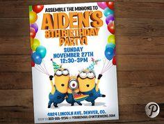 Minions Birthday Party Invitation Custom by prettypixelstudio