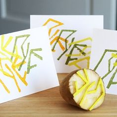 Make personalized stationery using homemade potato stamps. This is a great craft to do with kids!