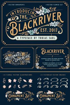 Blackriver is a Vintage Font inspired by vintage packaging and advertising from the early century. Font features are character set A-Z with special uppercase letters, stylistic alternates etc. Vintage Logo Design, Vintage Fonts, Vintage Typography, Graphics Vintage, Vector Graphics, Vector Art, Vintage Packaging, Packaging Design, Font Design