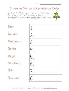 christmas worksheet alphabetical order
