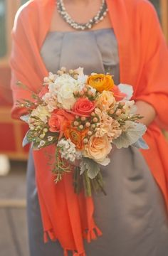 Bridesmaids: White, different shades of peach/orange and gray
