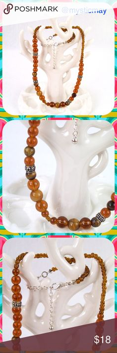 """Brown TIGER'S EYE Beaded Lobster Clasp Necklace Beautiful Tiger's Eye Necklace in a cognac brown color embellished with silver-tone beads. Lobster clasp. Short length. Can be worn choker-style or a little longer. 21"""" long. New, Never Worn. Jewelry Necklaces"""