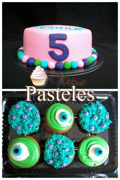 Monsters inc cake and cupcakes from pasteles vittie in Antigua Guatemala.