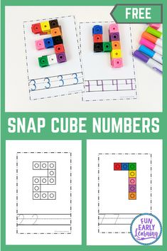 Snap Cube Numbers - Hands-on Math Activity for Number Identification Preschool Numbers Activities for PreK, Preschool, and Kindergarten! Snap Cube Numbers free printable in color and blackline. Preschool Learning, Kindergarten Activities, Number Activities For Preschoolers, Number Sense Activities, Numbers Kindergarten, Kindergarten Classroom, Family Activities, Preschool Crafts, Classroom Ideas