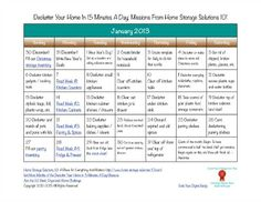 January 2013 printable decluttering calendar, with daily 15 minute missions.
