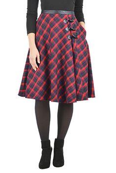 #Classic #plaid #toggle skirt from eShakti