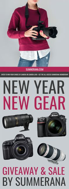 Introducing the Summerana's New Year New Gear Photography Giveaway & Sale! Start the new year off with new gear! We are giving away winner's choice of either a Nikon or Canon DSLR camera, or you can opt to choose your […] Photography Editing, Photography Tutorials, Digital Photography, Children Photography, Family Photography, Photography Lessons, Photography Business, Canon Dslr Camera, Dslr Cameras