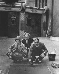 Sid Grauman with Mary Pickford and Douglas Fairbank as they become  the first film stars to leave their mark in the pavement, April 1927.