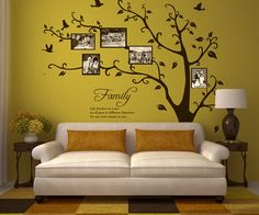 Family Tree with Family Saying Vinyl Wall Graphic Decals. ~ Item 0102 by WallVinylCreations on Etsy Wall Texture Design, Wall Design, Family Tree Wall, Vinyl Sheets, New Wall, Family Quotes, Picture Wall, Room Inspiration, Wall Art Decor