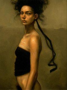 Artist: Dan Dos Santos {figurative female semi-nude woman profile portrait painting} Bushed !!