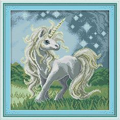 YEESAM ART® New Cross Stitch Kits Advanced Patterns for Beginners Kids Adults – Beautiful Unicorn 11 CT Stamped 43×44 cm – DIY Needlework Wedding Christmas Gifts – The Toy Shop