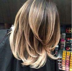 Balayage shoulder length layers medium brown-blonde