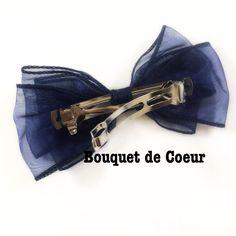 #135NEWフェミニンリボンバレッタ♡ネイビー Handmade navy ribbon bow --barrette