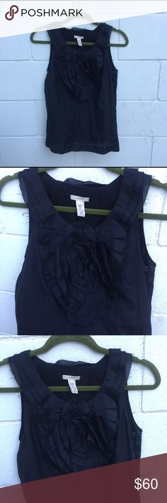 JCREW Sleeveless Blouse with flower Adorable sleeveless black blouse! Gorgeous flower design on front of top! There's a side zipper. Great condition. J. Crew Tops Blouses