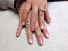 Pale pink with pink sparkle accent nails  Oasis Salon and Spa Mill Hall Pa (570)726-6565
