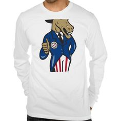 Democrat Donkey Mascot Thumbs Up Flag Shirts. Illustration of a democrat donkey mascot of the democratic grand old party gop wearing hat showing thumbs up and American stars and stripes flag suit done in cartoon style. #Illustration #DemocratDonkeyMascot