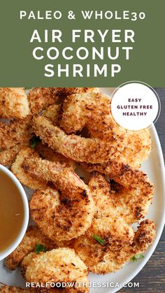 This Paleo Whole30 Air Fryer Coconut Shrimp is quick, easy, and delicious! Golden brown, crispy, and a great dinner or appetizer. They're gluten free, dairy free, and dipped in a naturally sweetened sauce. Dairy Free Recipes, Paleo Recipes, Real Food Recipes, Dinner Recipes, Cookbook Recipes, Delicious Recipes, Gluten Free, Coconut Shrimp, Whole 30