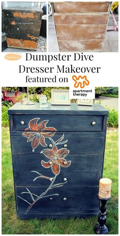 "ART IS BEAUTY: Dumpster DIVE to Dumpster DIVA etched ""LILY"" DRESSER"