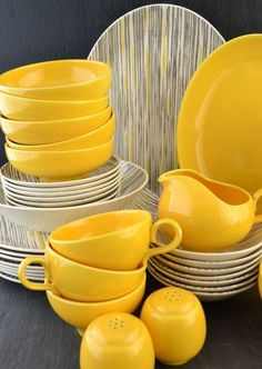for J - Mid Century Dinnerware - Homer Laughlin - Vintage Dishes - Yellow and Gray - Rhythm Duraprint Pattern - Set of 44 Mid Century Dinnerware Homer Laughlin Vintage Dishes by KOLORIZEDish Dish, dishes or DISH may refer to: Yellow Cups, Yellow Plates, Kitchen Dishes, Kitchen Items, Island Kitchen, Kitchen Storage, Kitchen Cabinets, Vintage Dishes, Vintage Kitchen