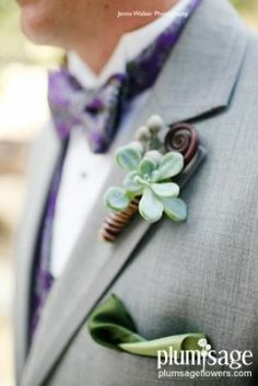Succulent, fern shoot and brunia pod boutonniere by Plum Sage Flowers. Image courtesy of Jenna Walker Photography.