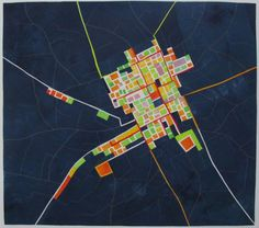 I make textile wallhangings in the tradition of pieced quilting, using some fused appliqué as well, and some times incorporating text. I have always used strong colour in my work, and my maps are …