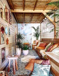 Wonderful Bohemian Sunroom Design Ideas Look Beautiful Inspired Homes, Bohemian Interior, Home, Sunroom Decorating, Bohemian House Designs, Indoor Porch, Bohemian Patio, Interior Design Styles, Eclectic Decor Bohemian